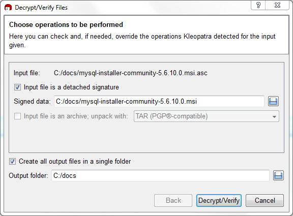 The Decrypt/Verify Files dialog