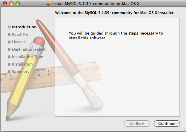 MySQL Package Installer: Step 1