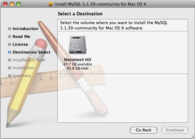 MySQL Package Installer: Step 4