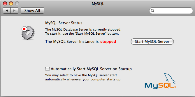 MySQL Preference Pane