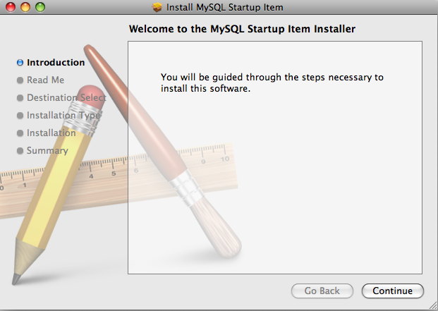 MySQL Startup Item Installer: Step 1