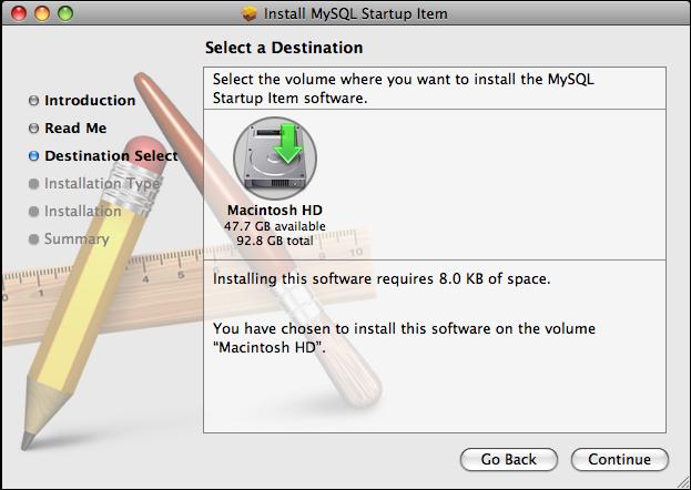 MySQL Startup Item Installer: Step 3