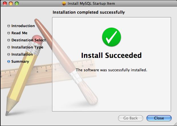 MySQL Startup Item Installer: Step 5