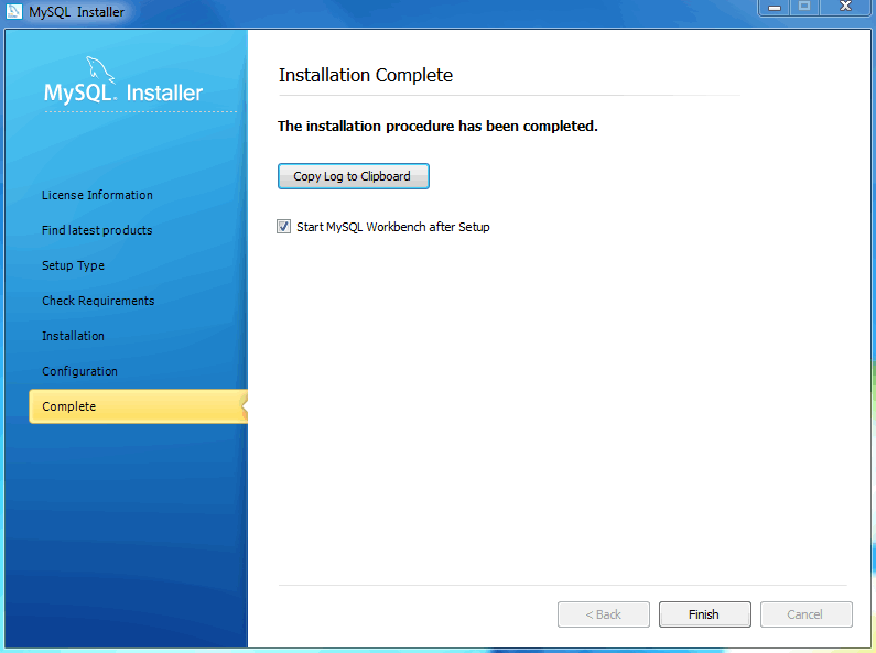 MySQL Installer - Installation Complete