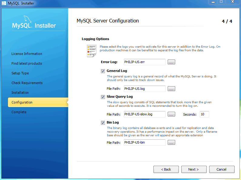 MySQL Installer - MySQL Server Configuration: Logging options