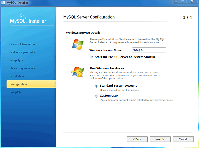 MySQL Installer - MySQL Server Configuration: Windows service details
