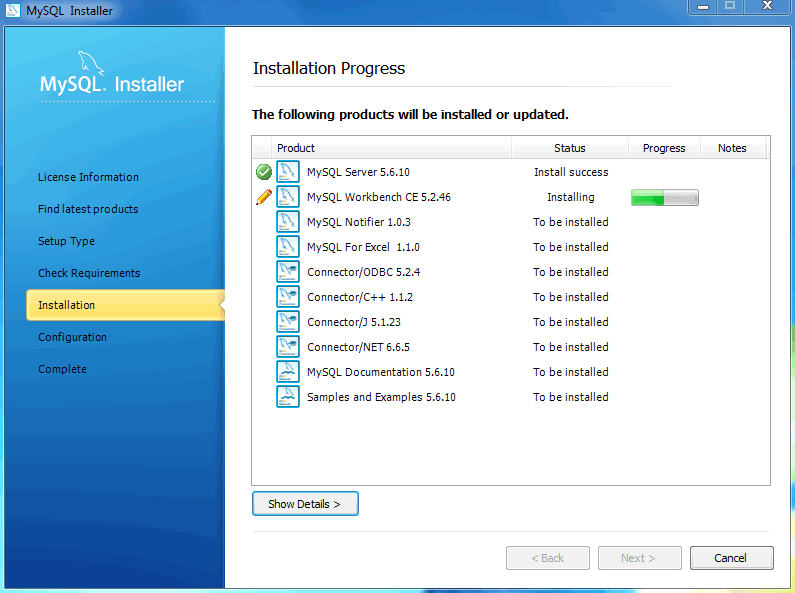 MySQL Installer - Installation Progress status
