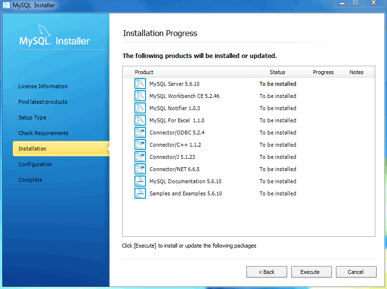 MySQL Installer - Installation Progress