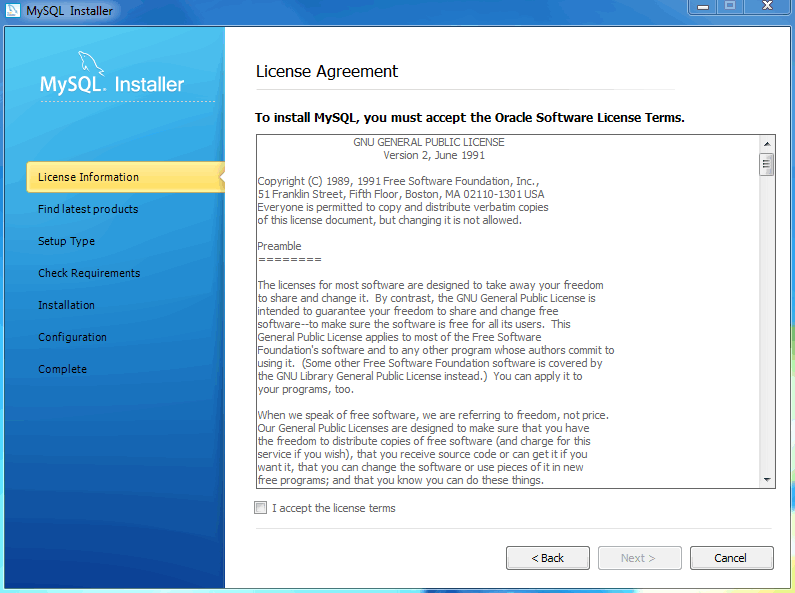 MySQL Installer - License Agreement