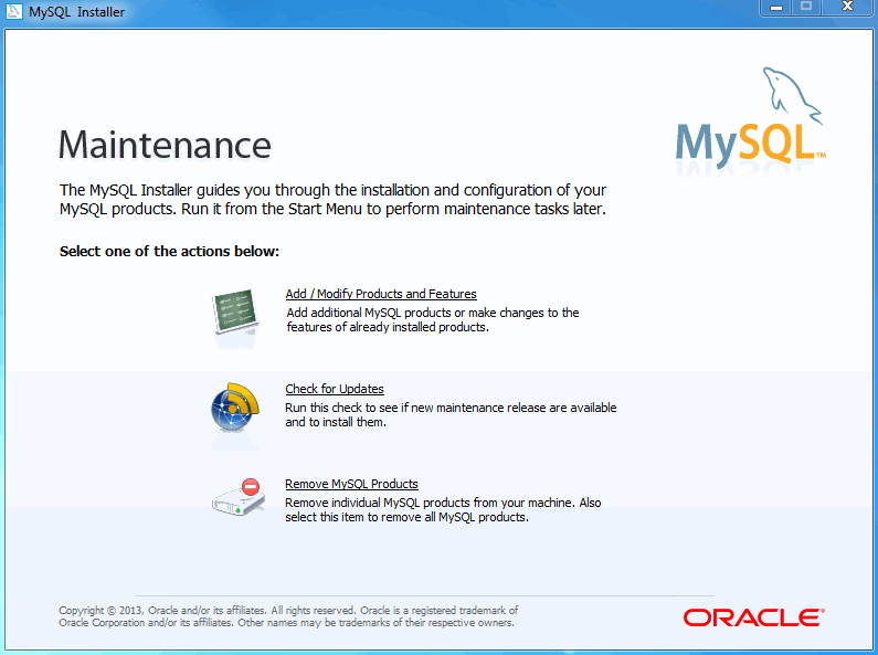 MySQL Installer - Maintenance Screen
