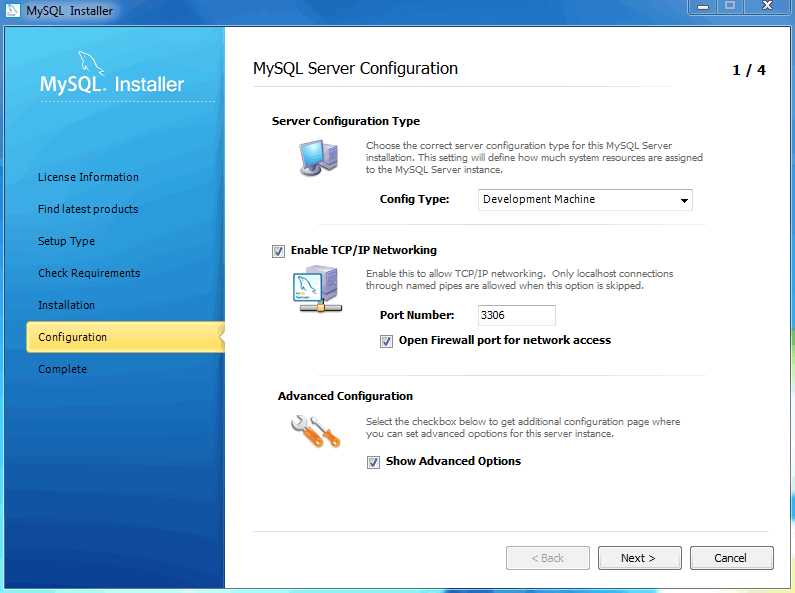 MySQL Installer- MySQL Server Configuration: Define platform, networking, and logging options