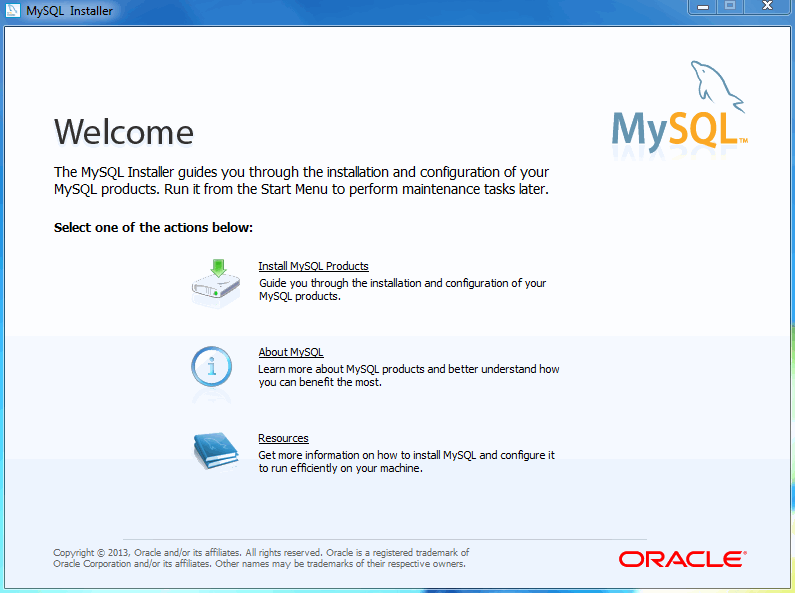 MySQL Installer - Welcome Screen