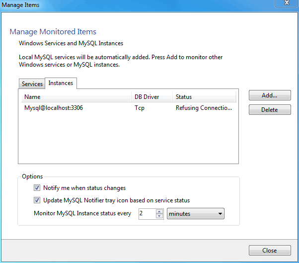 MySQL Notifier for Microsoft Windows Manage Instances menu