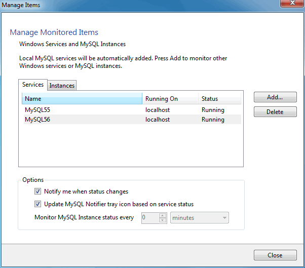 MySQL Notifier for Microsoft Windows Manage Services menu