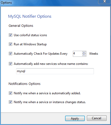 MySQL Notifier for Microsoft Windows Options menu